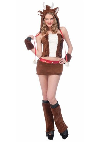 Click here to view Large Image  sc 1 st  The Costume Land & Adult Reindeer Furry Hood Woman Costume | $52.99 | The Costume Land