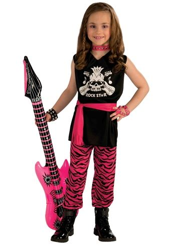Halloween Rockstar.Kids Girls Classic Rock Star 80s Costume