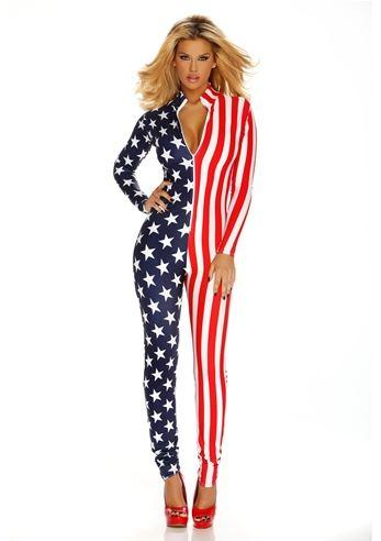 04f7d00d86ff Adult Flag Zipfront Women Bodysuit