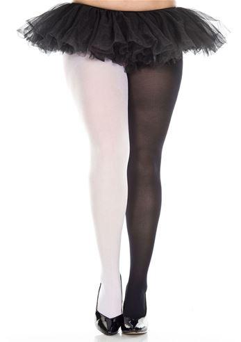 9800339b7cbb1e Adult Jester Plus Black White Tights | $12.99 | The Costume Land
