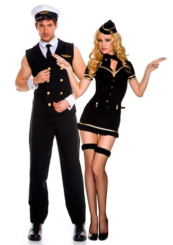 adult airline pilot men costume black