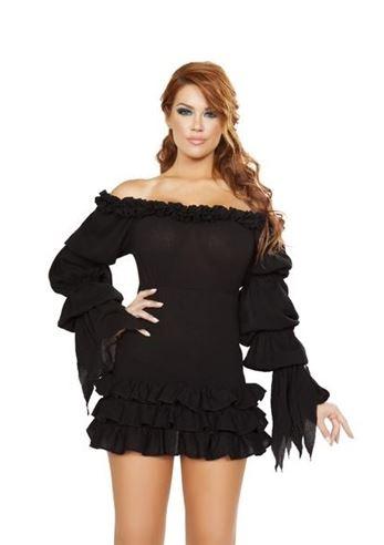 Adult Woman Pirate Ruffled Black Dress 3499 The Costume Land