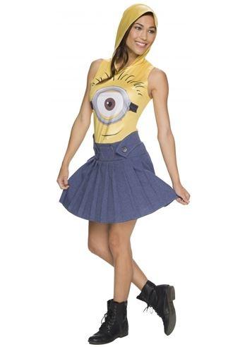 Minions Halloween Costume.Adult Minions Woman Hooded Costume