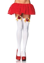 Opaque Thigh Highs With Sequin Poison Apple