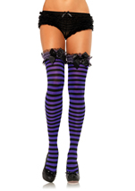 Garter Top Opaque Striped Thigh Highs