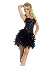 Black Feather Dress Womens Costume