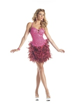 Hot Pink Turkey Feathers Woman Costume