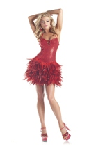 Adult Red Turkey Feathers Woman Costume