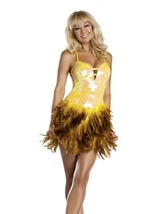 Yellow Turkey Feather Woman Costume