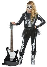 Skeleton Rocker Girls Costume