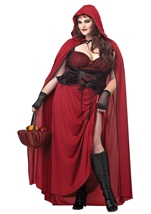 Plus Dark Red Riding Hood Women Costume