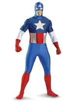 Teen Boys Captain America Deluxe Bodysuit Costume