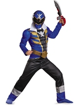 Power Rangers Blue Ranger Super Megaforce Classic Muscle Boys Costume