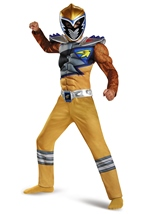 Gold Power Ranger Dino Charge Muscle Boys Costume