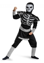 Skeleton Ninja Muscle Boy Halloween Costume