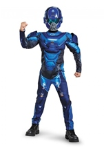 Spartan Halo Boys Muscle Blue Costume