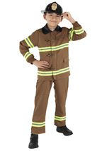 Kids Boys Brown Fire Fighter  Costume