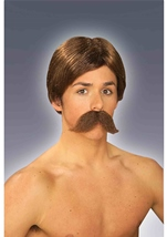 Burt Wig And Moustache Brown