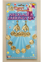 Gold Coin Necklace and Earrings