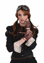 Steampunk Fingerless Gloves Brown