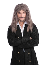 Pirate Captain Wig Grey And Brown