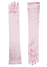 Gloves Long Satin Pink