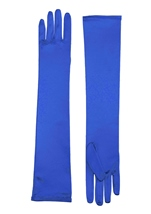 Gloves Long Satin Blue