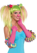 Neon Pink Circus Sweetie Fishnet Gloves