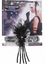 Silver Flapper Headband with Black Feathers