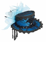Blue Mini Lace Fedora Hair Clip Hat