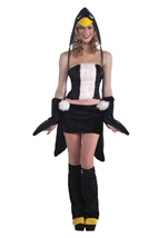Penguin Furry Hood Women Costume