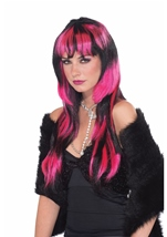 Black And Pink Vivid Long Women Wig