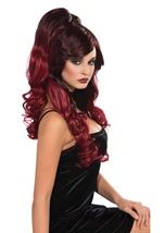 Long Burgundy Women Wig With Ponies