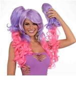 Adult Hot Pink And Purple Deluxe Wig With Pony