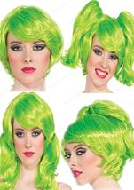 Women Neon Green Short Wig With Ponies