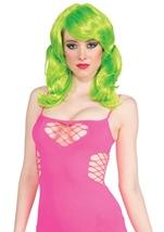 Women Neon Green Short Wig With Ponies