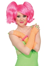 Neon Pink Short Wig With Ponies