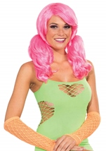 All ages Neon Pink Short Wig With Ponies