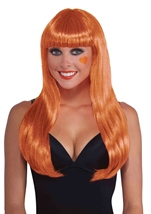 Neon Orange Women Long Wig