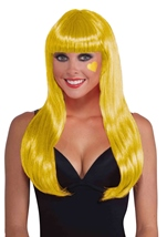 Neon Yellow Women Long Wig