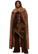 Deluxe Faux Fur Trimmed Men Brown Medieval Cape