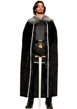 Faux Fur Trimmed Medieval Men Black Cape