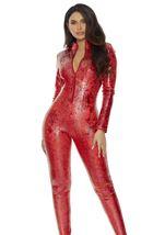 Adult Red Zipfront Reptile WomanJumpsuit