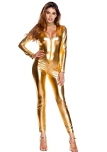 Adult Metallic Zipfront Gold Women Bodysuit