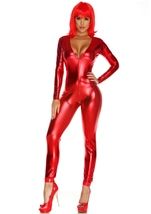 Metallic Zipfront Red Women Bodysuit