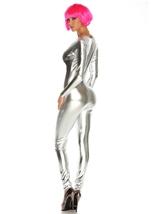Metallic Zipfront Silver Women Bodysuit