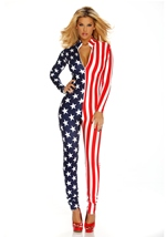 Adult Flag Zipfront Women Bodysuit