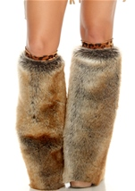 Leopard Print Band Furry Leg Warmers