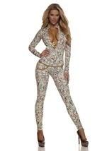 Money Print Woman Catsuit