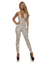 Halter Money Print Women Sexy Catsuit